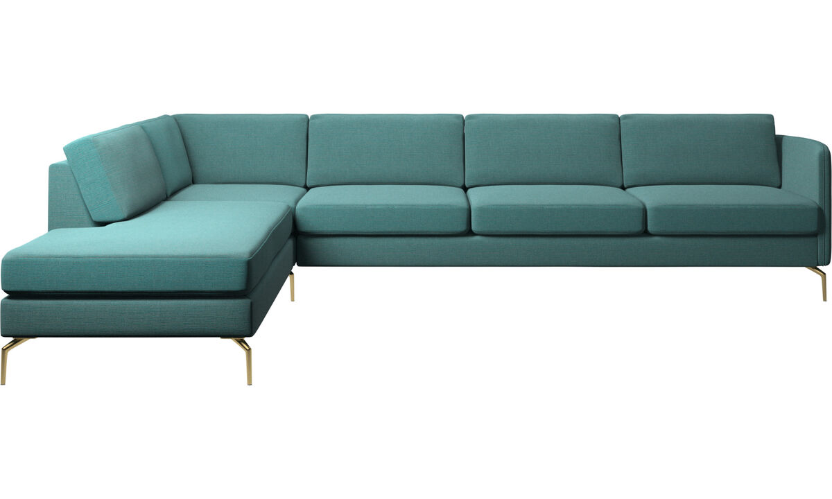 Sofas with open end - Osaka corner sofa with lounging unit, regular seat - Blue - Fabric