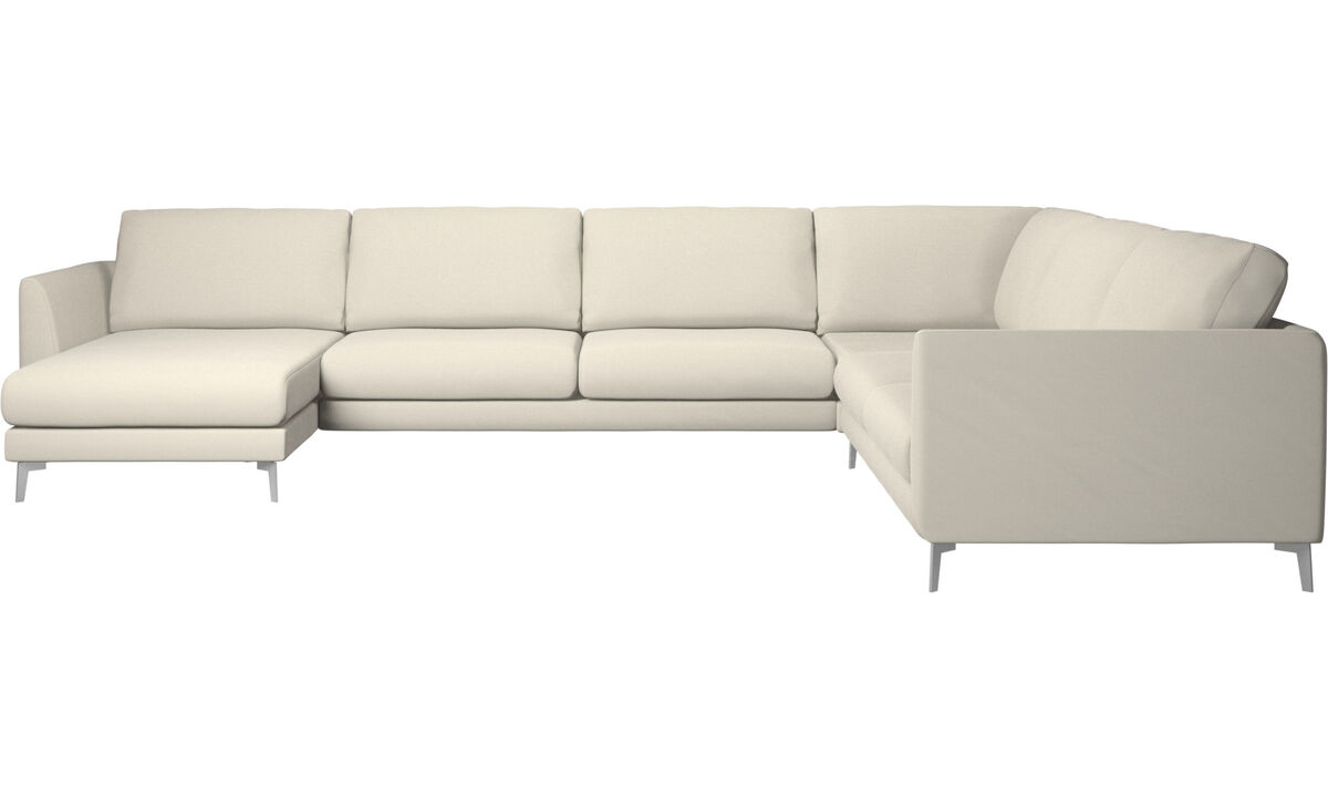 Nuevos diseños - sofá rinconera Fargo con módulo chaise-longue - Blanco - Tela
