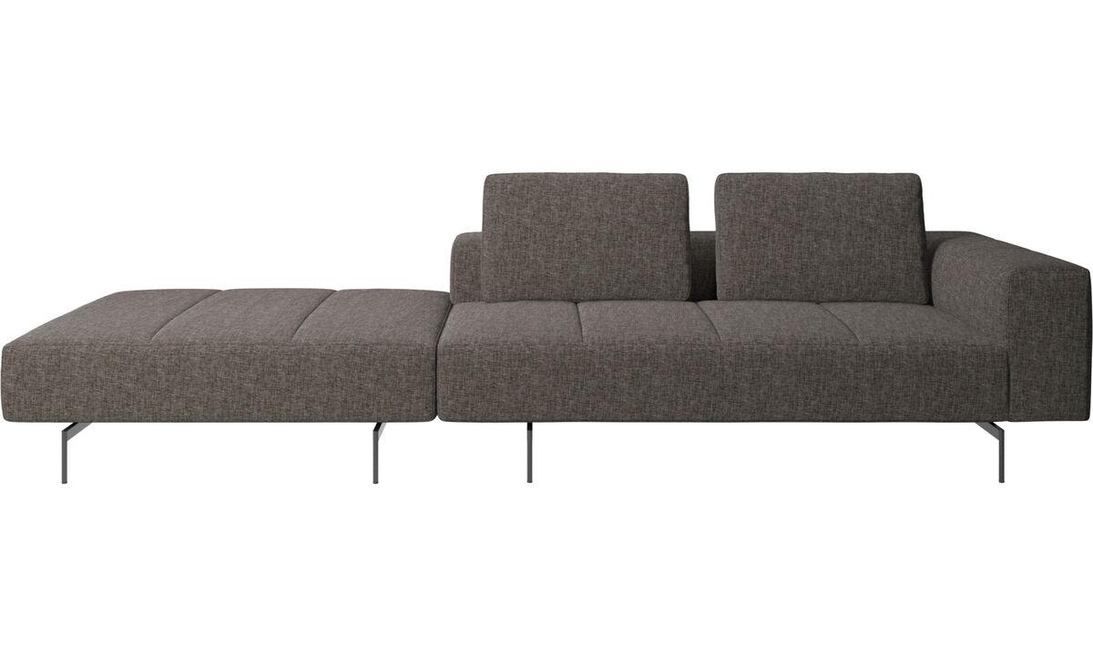 Sofás de 3 plazas - sofá Amsterdam con puf en lado izquierdo - En marrón - Tela