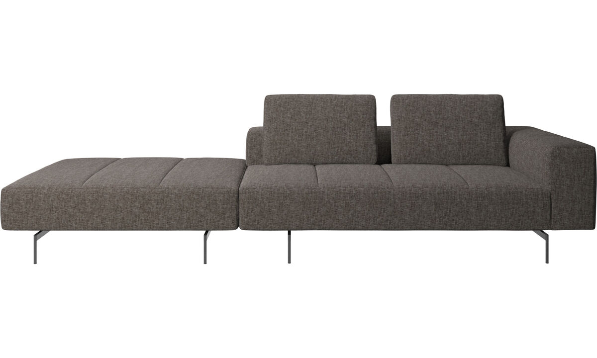 3 personers sofaer - Amsterdam sofa med puf på venstre side - Brun - Stof