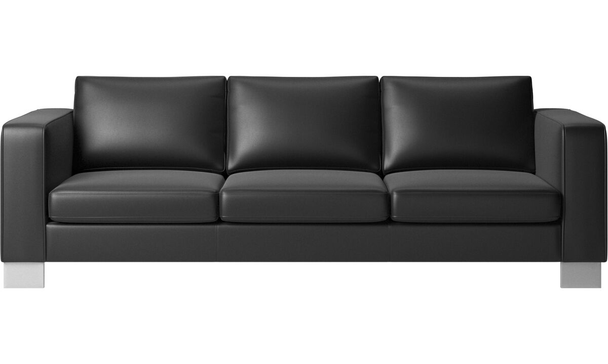 3 seater sofas - Indivi 2 sofa - Black - Leather
