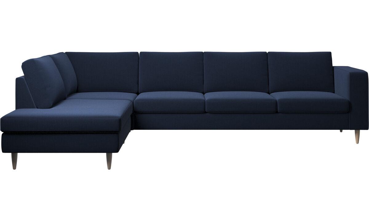 Sofas with open end - Indivi divano ad angolo con modulo relax - Blu - Tessuto