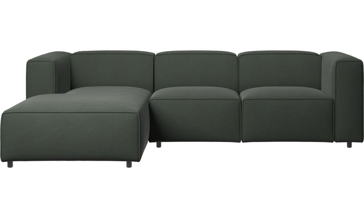 Sofás reclinables - Sofá Carmo con movimiento y módulo de descanso - En verde - Tela
