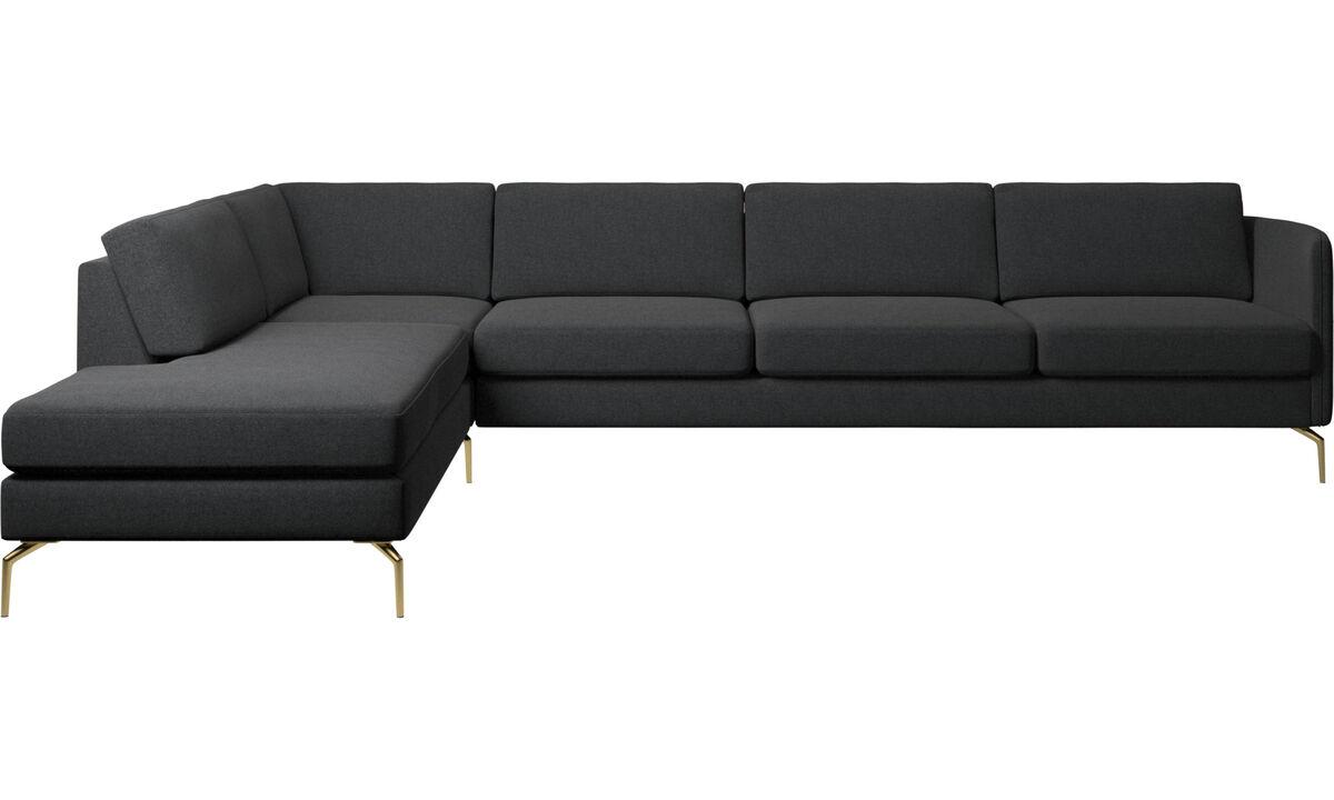 Sofas with open end - Osaka corner sofa with lounging unit, regular seat - Grey - Fabric