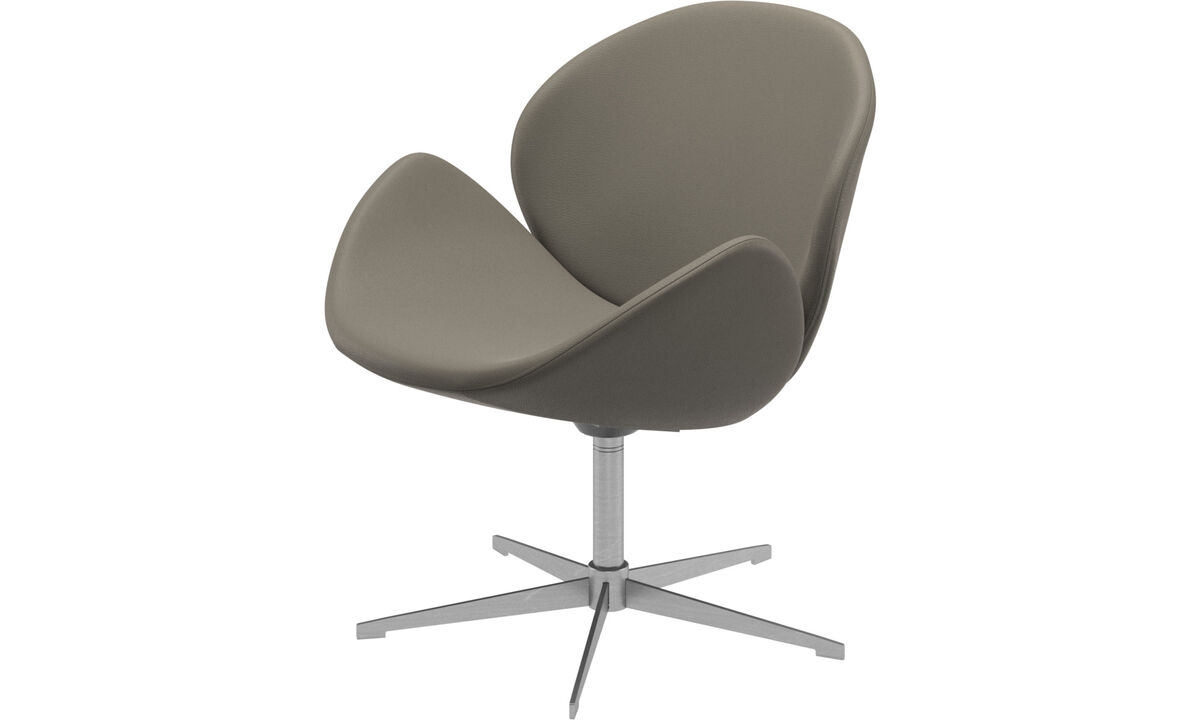 Armchairs - Ogi chair with swivel function - Grey - Leather