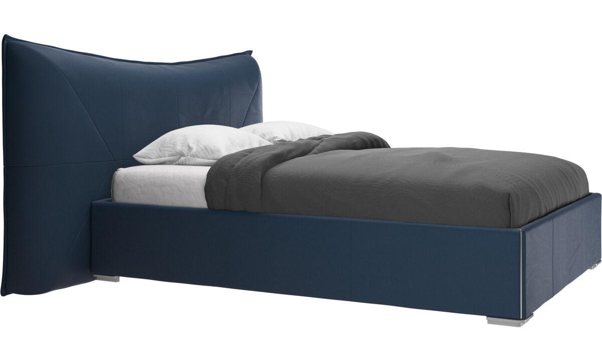 Camas - Cama Gent, no incluye colchón - En azul - Piel
