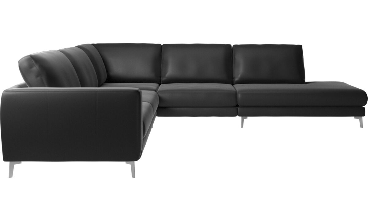 Sofas with open end - Fargo corner sofa with lounging unit - Black - Leather