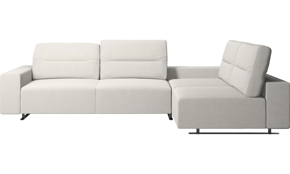 Corner sofas - Hampton corner sofa with adjustable back and storage on left side - White - Fabric