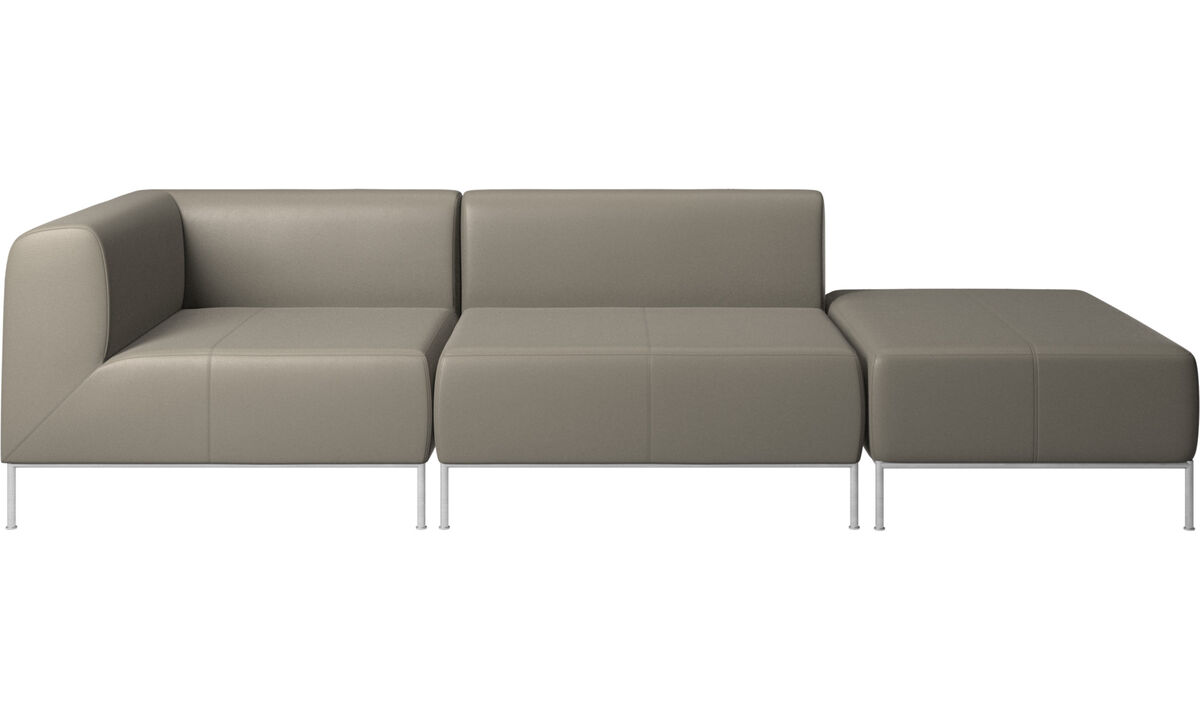 Sofas with open end - Miami sofa with footstool on right side - Grey - Leather