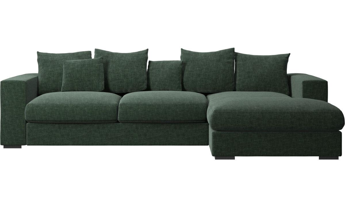 Sofas mit Récamiere - Cenova Sofa mit Ruhemodul - Grün - Stoff