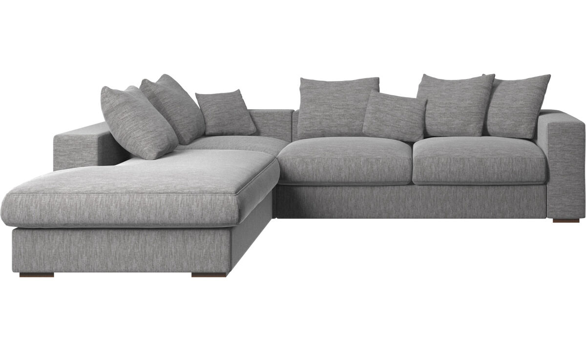 Sofás con lado abierto - sofá Cenova con módulo de descanso - En gris - Tela