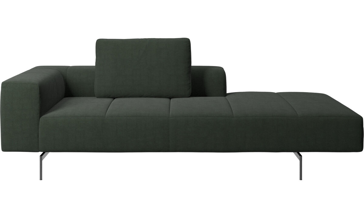 Modular sofas - Amsterdam Iounging module for sofa, armrest left, open end right - Green - Fabric