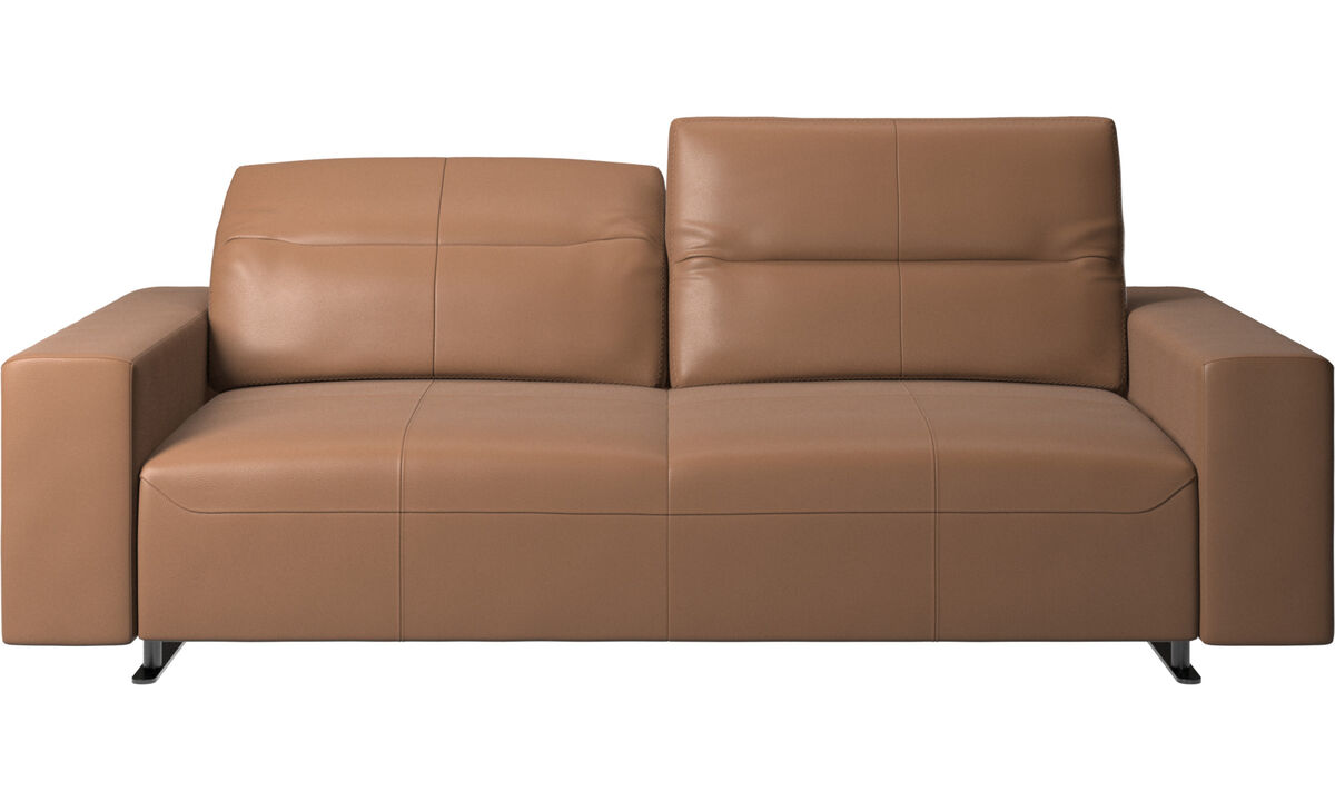 2.5 seater sofas - Hampton sofa with adjustable back - Brown - Leather