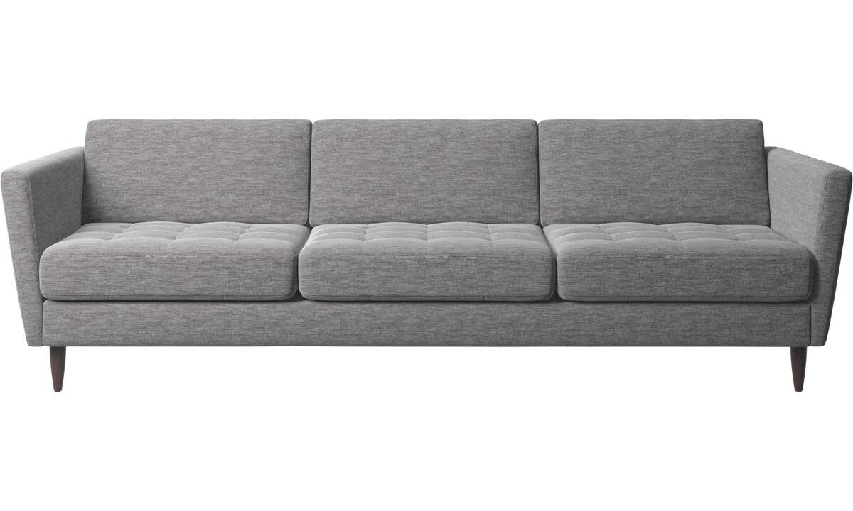 Sofás de 3 plazas - sofá Osaka, asiento capitoné - En gris - Tela