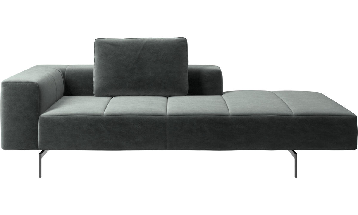 Chaise longue sofas - Amsterdam lounging module for sofa,  medium armrest right - Green - Fabric