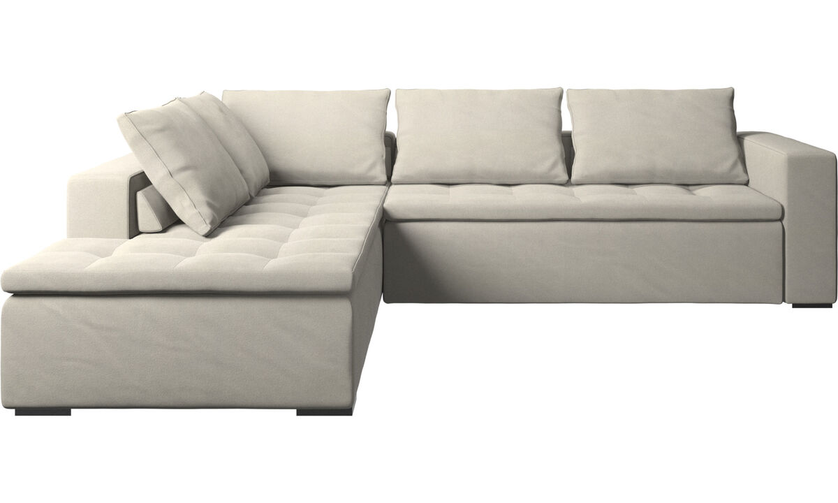 Sofas with open end - Mezzo corner sofa with lounging unit - White - Fabric