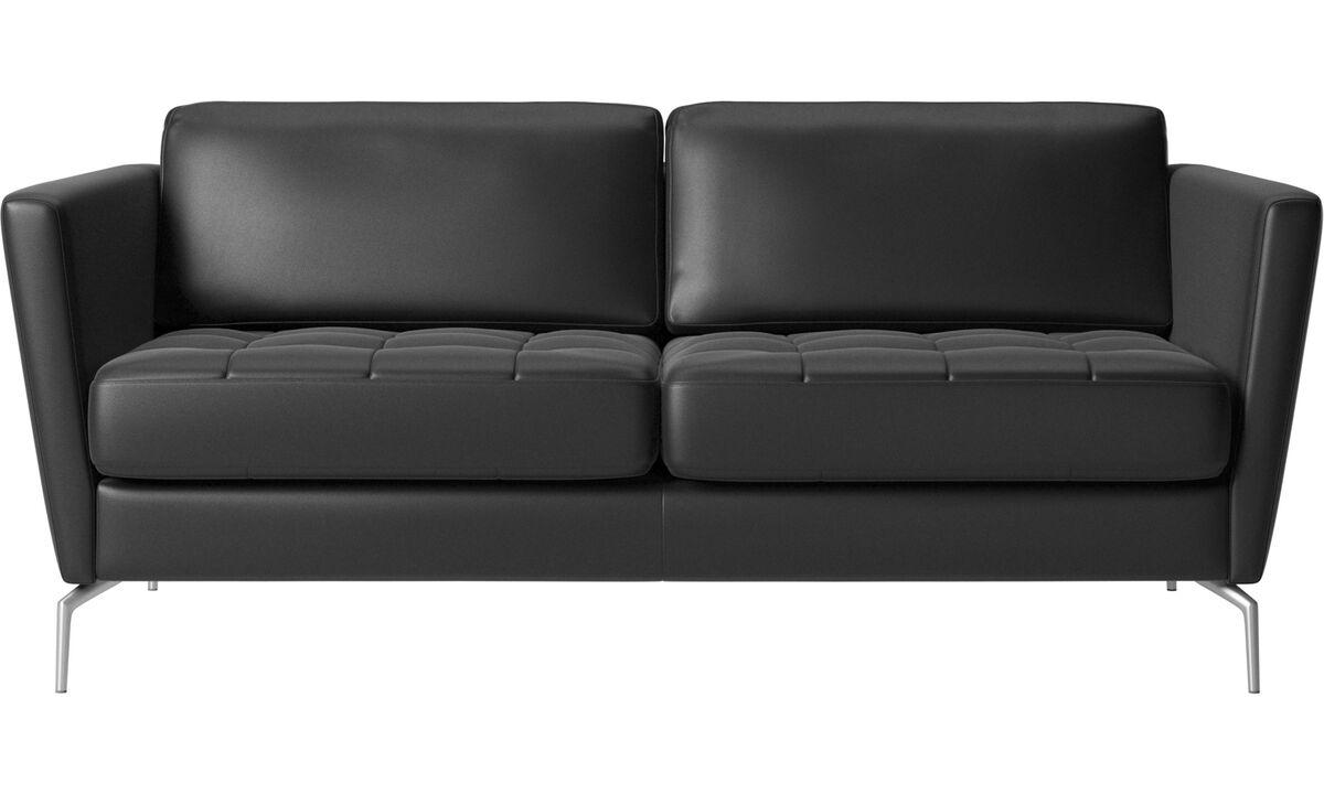 2 seater sofas - Osaka sofa, tufted seat - Black - Leather