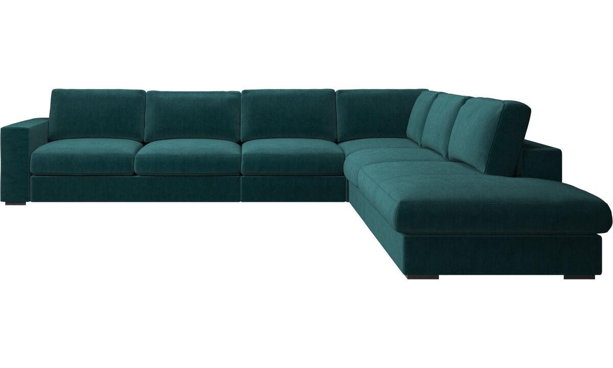 Καναπέδες με μονάδα lounging - γωνιακός καναπές Cenova με μονάδα lounging - Μπλε - Ύφασμα