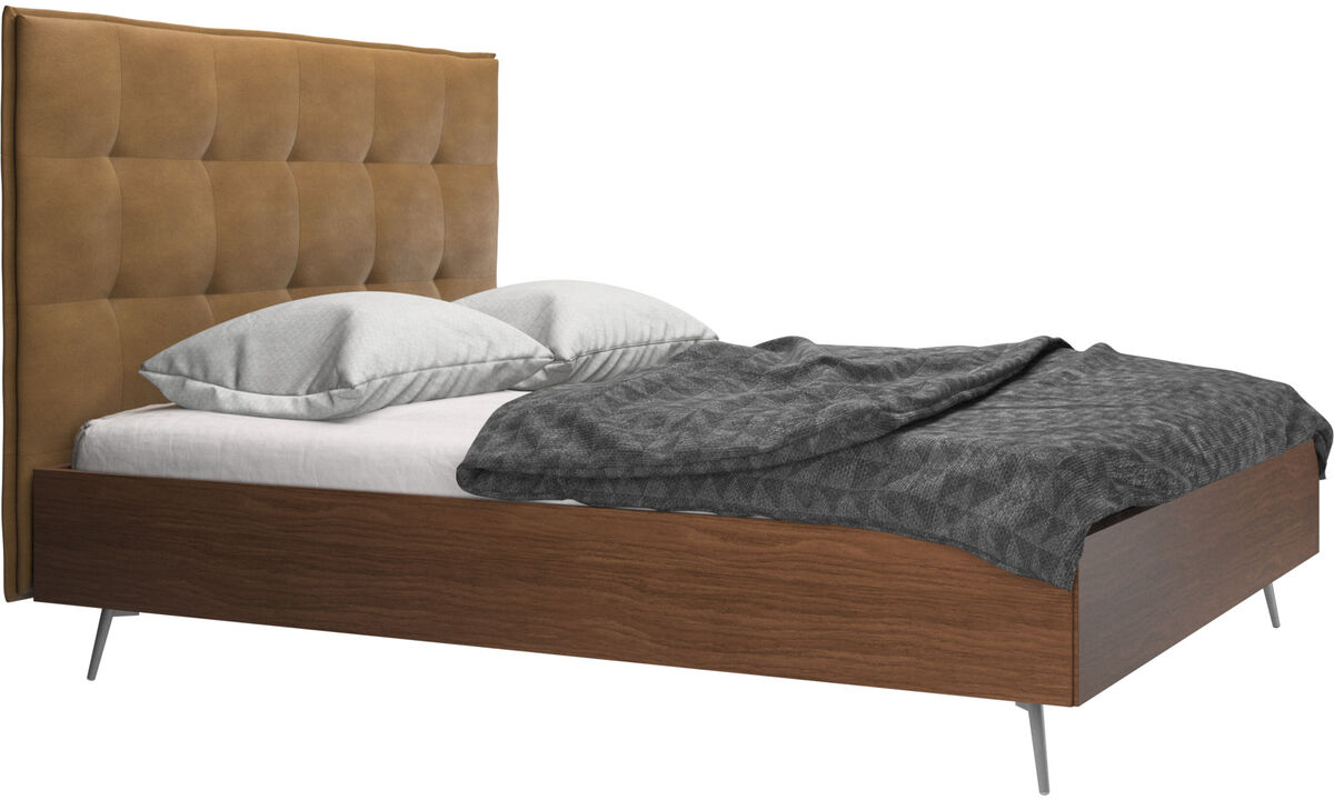 Beds - Lugano bed, excl. slats and mattress - Brown - Leather
