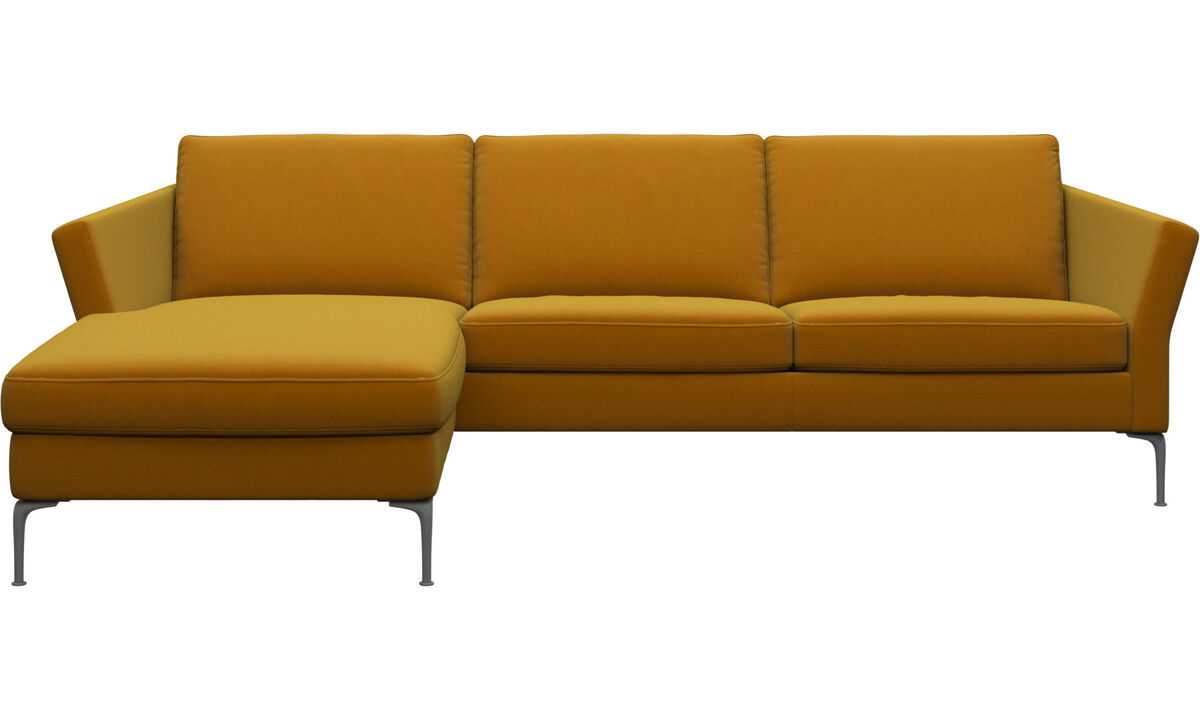 Chaise lounge sofas - Marseille sofa with resting unit - Orange - Fabric