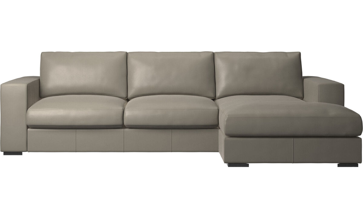 Chaise lounge sofas - Cenova sofa with resting unit - Grey - Leather