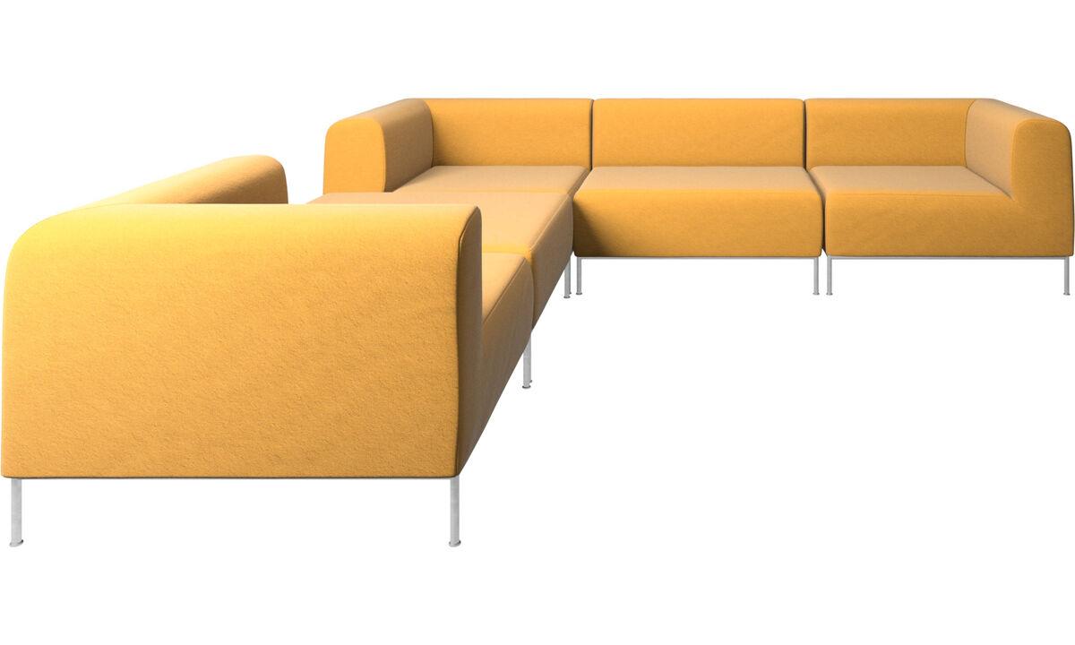 Sofás modulares - Sofá esquinero Miami con puf en lado izquierdo - En amarillo - Tela