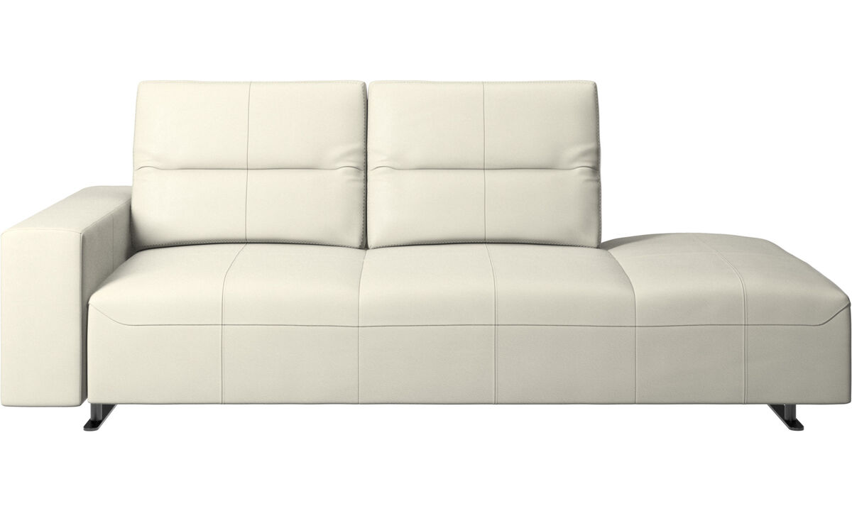 Sofas with open end - Hampton sofa with adjustable back and lounging unit right side, armrest left - Beige - Leather