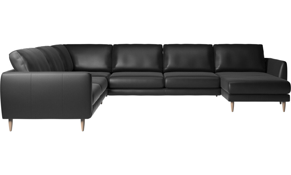 Corner sofas - Fargo corner sofa with resting unit - Black - Leather