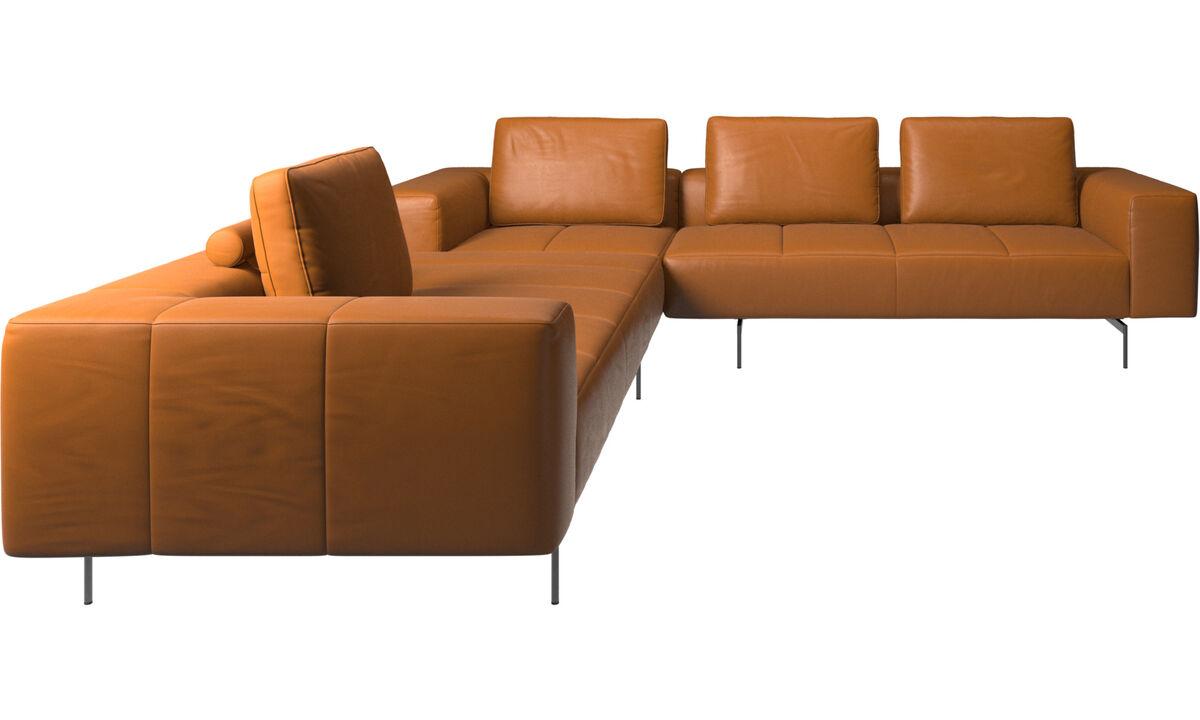 Corner & L-Shaped Sofa - Amsterdam corner sofa - Brown - Leather