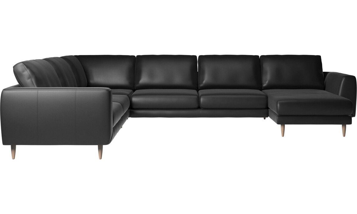 Sofas - Fargo corner sofa with resting unit - Black - Leather