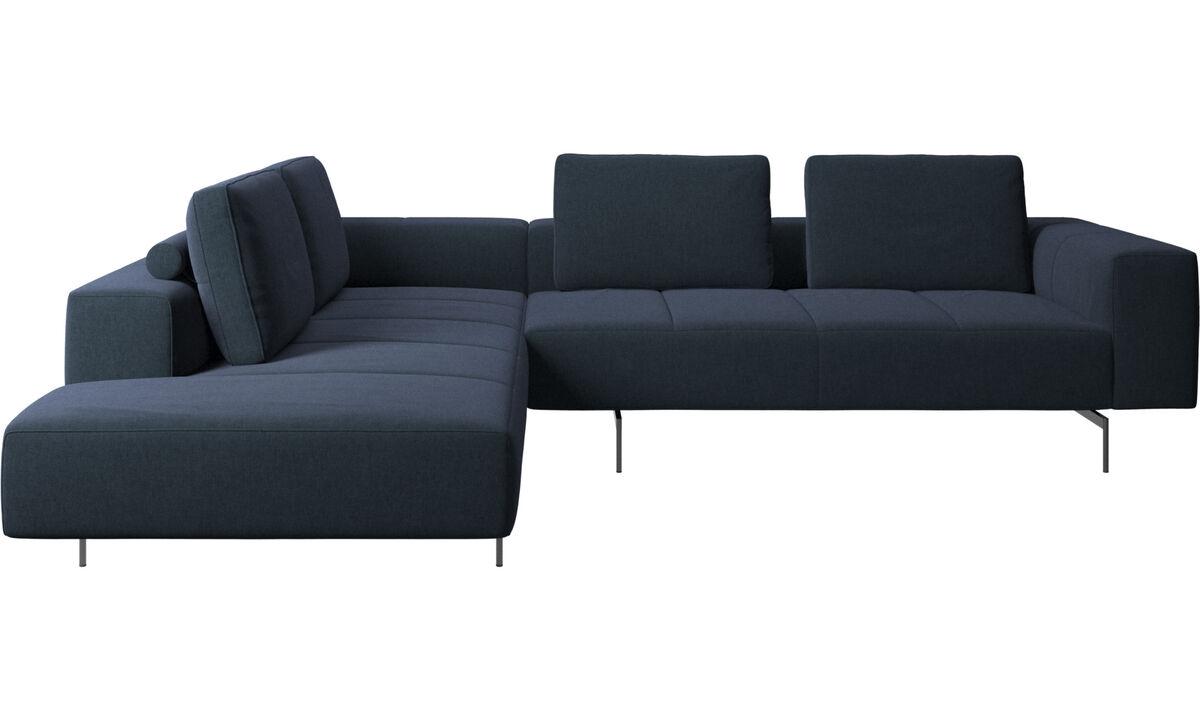 Modulaire zitbanken - Amsterdam hoekbank met relaxelement - Blauw - Stof
