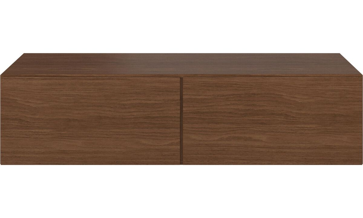 Wall systems - Lugano wall mounted cabinet with drop down doors - Brown - Walnut