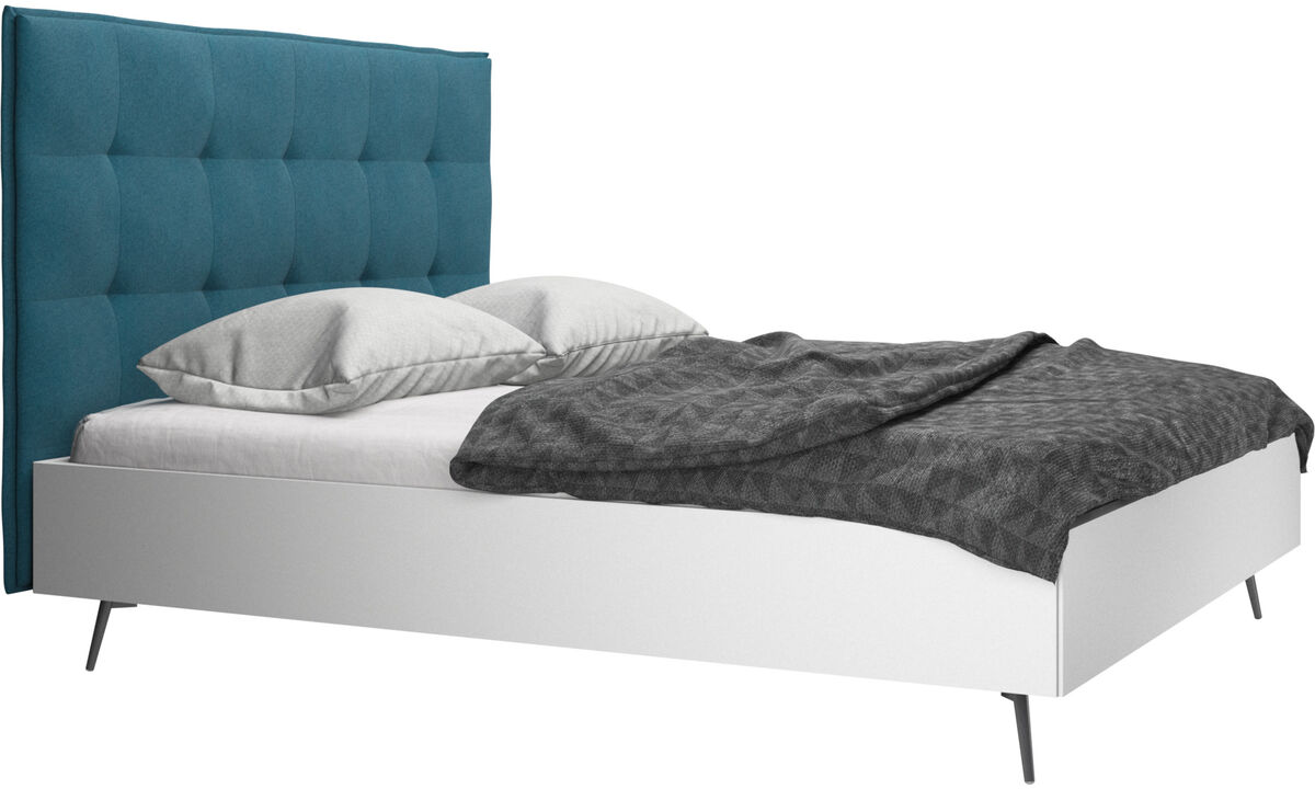 Betten - Lugano Bett, Lattenrost und Matratze gegen Aufpreis - Blau - Stoff