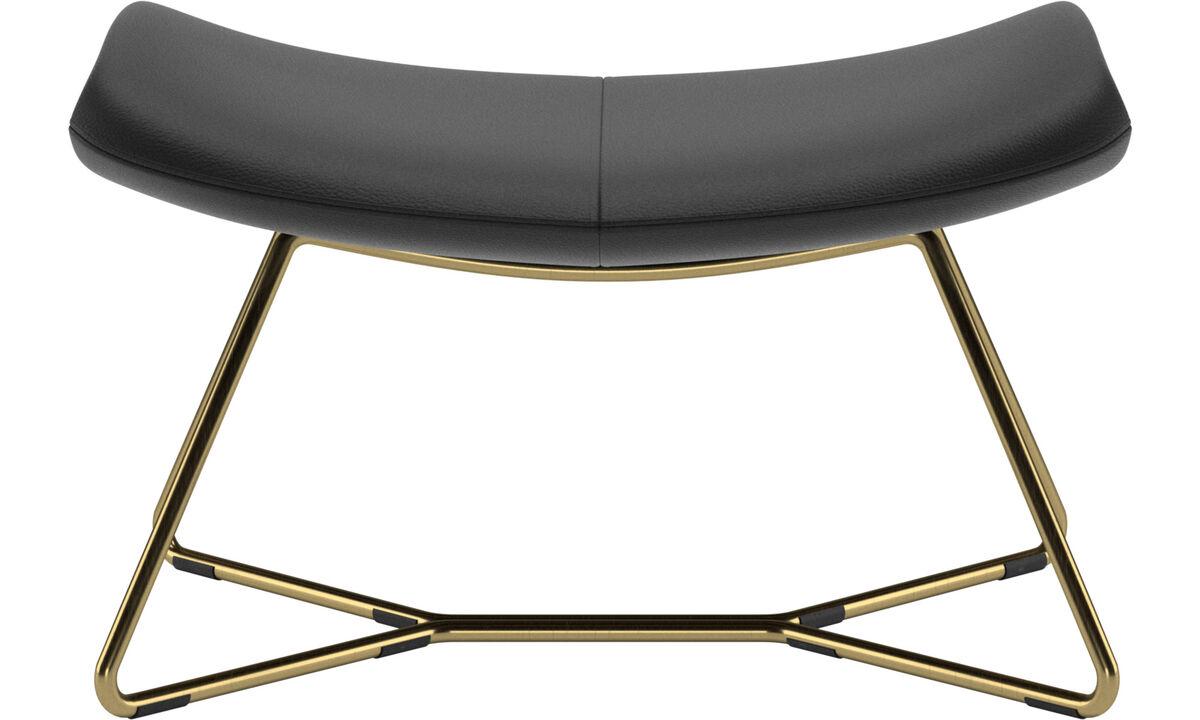 Ottomans - Imola footstool - Black - Leather