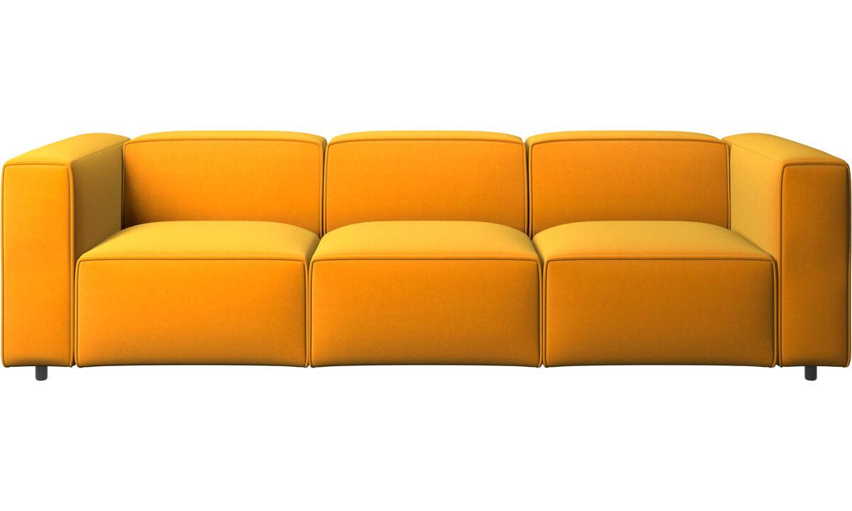 Sofás de 3 plazas - sofá Carmo - Naranja - Tela
