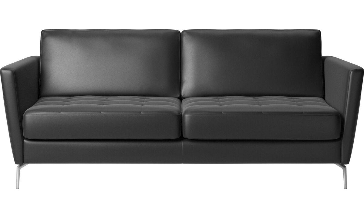 Sofás cama - Sofá cama Osaka, asiento capitoné - En negro - Piel