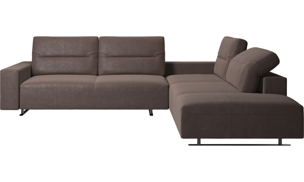 Corner & L-Shaped Sofa - Hampton corner sofa with adjustable back and lounging unit - Brown - Leather