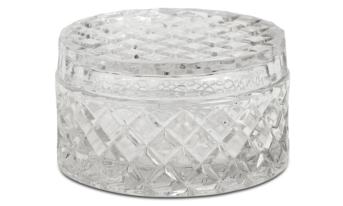 Facet jar with lid - Clear - Glass