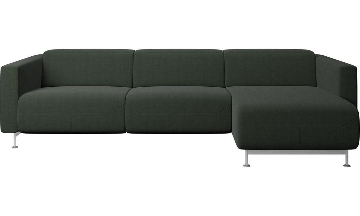 Sofás com chaise - Sofá reclinável Parma com chaise lounge - Verde - Tecido