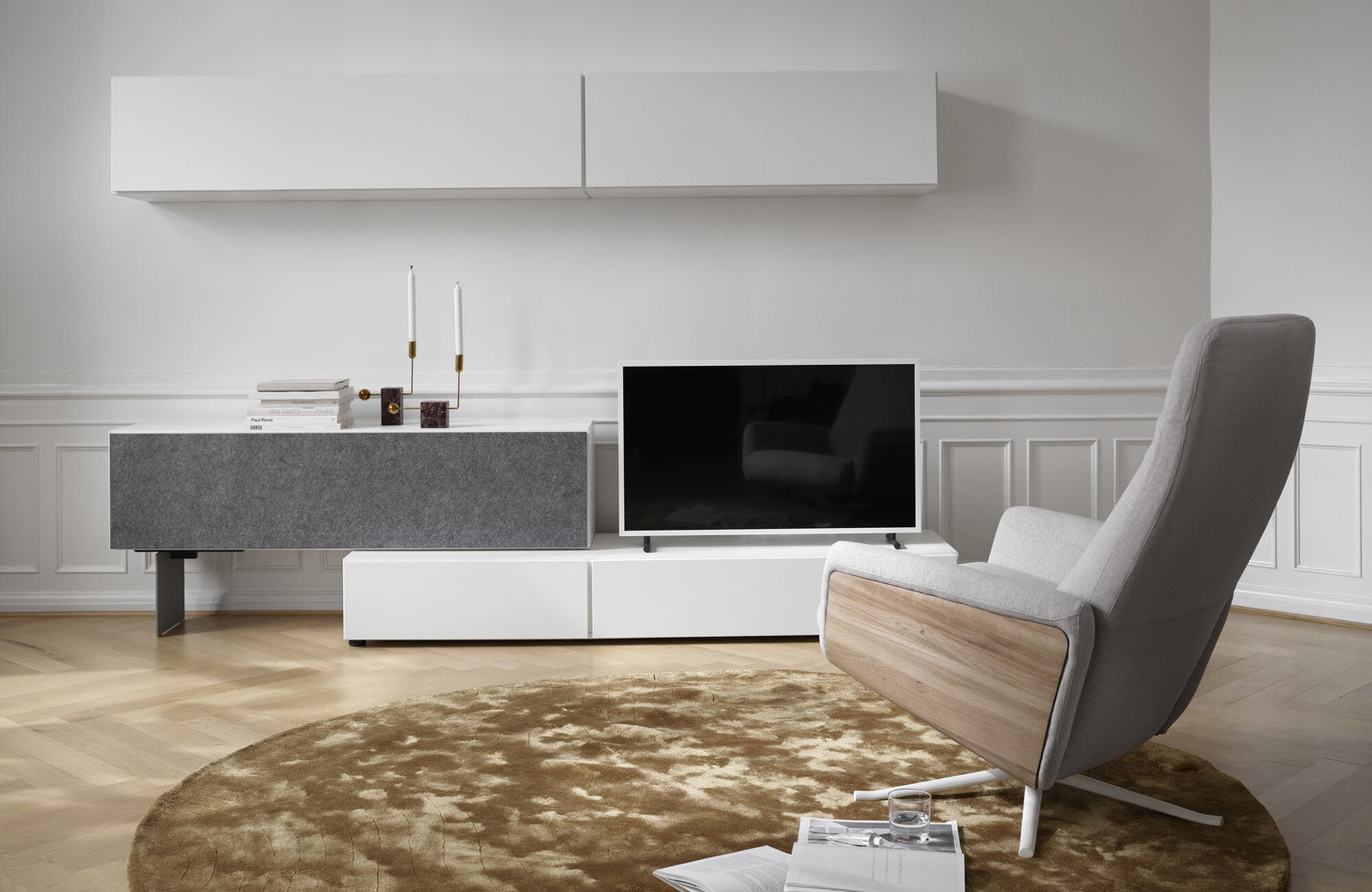 Wall systems - Lugano wall system with drawer and drop down door