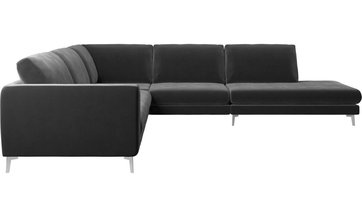 Sofas with open end - Fargo divano ad angolo con modulo relax - Nero - Tessuto