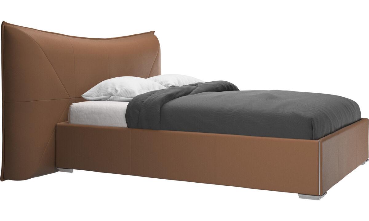 Nuevas camas - cama con canapé, estructura elevable y tablado, no incluye colchón Gent - En marrón - Piel