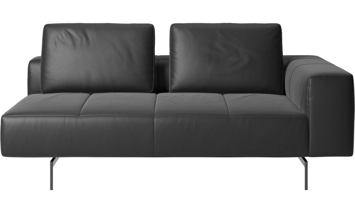 2.5 seater sofas - Amsterdam 2,5 seating module, armrest right - Black - Leather
