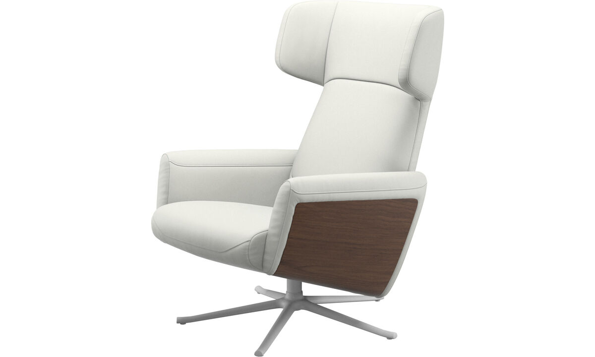 Recliners - Lucca wing recliner with swivel function - White - Leather