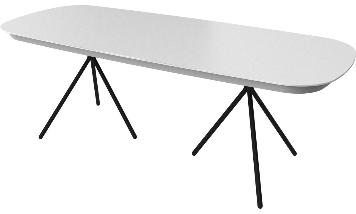 Dining tables - Ottawa table with supplementary tabletop - oval - White - Lacquered