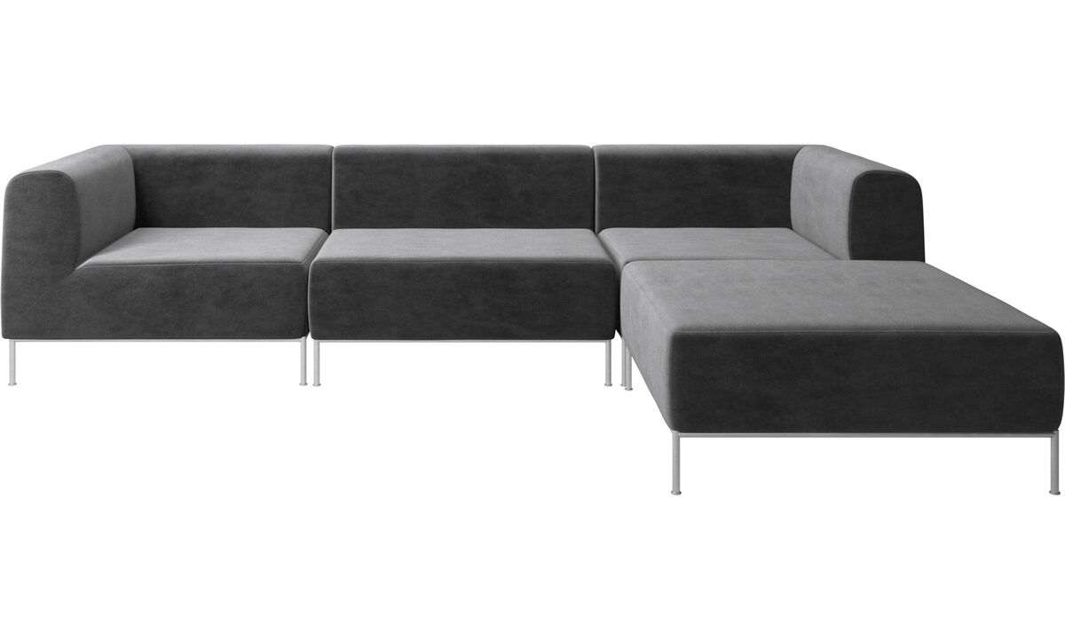 Modular sofas - Miami corner sofa with footstool on right side - Grey - Fabric