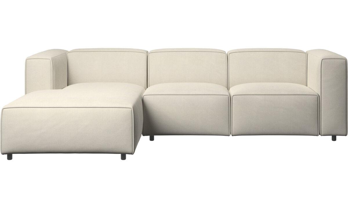 Sofás con chaise longue - Sofá Carmo con movimiento y módulo de descanso - Blanco - Tela
