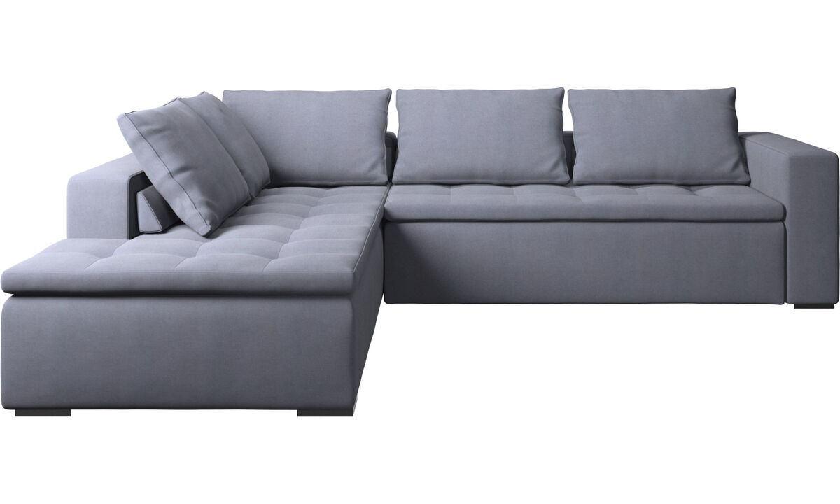 Sofas with open end - Mezzo corner sofa with lounging unit - Blue - Fabric