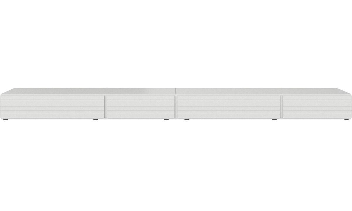 Έπιπλα Tv - Επιδαπέδια μονάδα Lugano με συρτάρια και ανοιγόμενες προς τα κάτω πόρτες - Λευκό - Λάκα