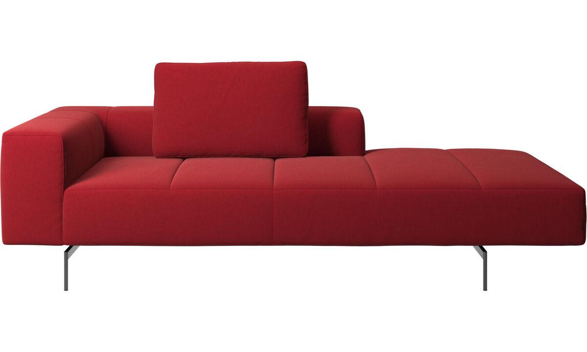Sofás modulares - Módulo descanso para sofá Amsterdam, braço esquerdo, aberto e direito - Vermelho - Tecido
